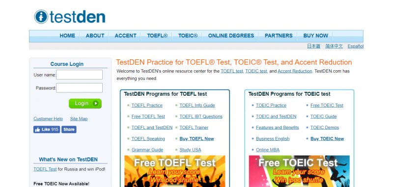 Trang chủ website TestDEN