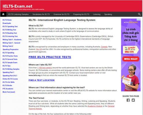 Trang chủ website IELTS Exam luyện thi IELTS trực tuyến