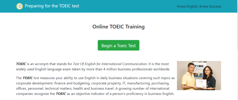 Trang chủ website TOEIC-training