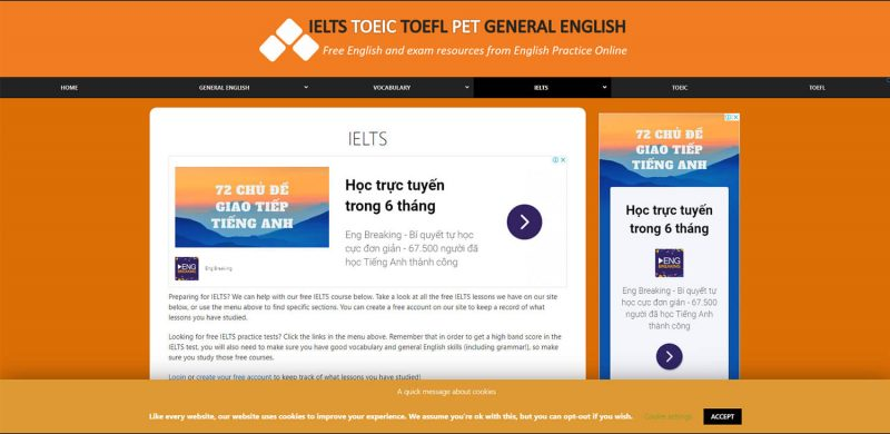 Trang chủ website English Practice Online luyện thi IELTS trực tuyến