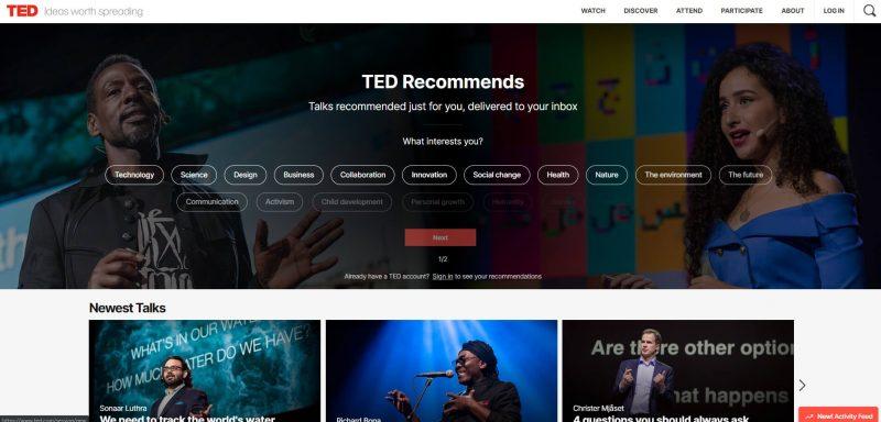 Trang chủ website TED.com